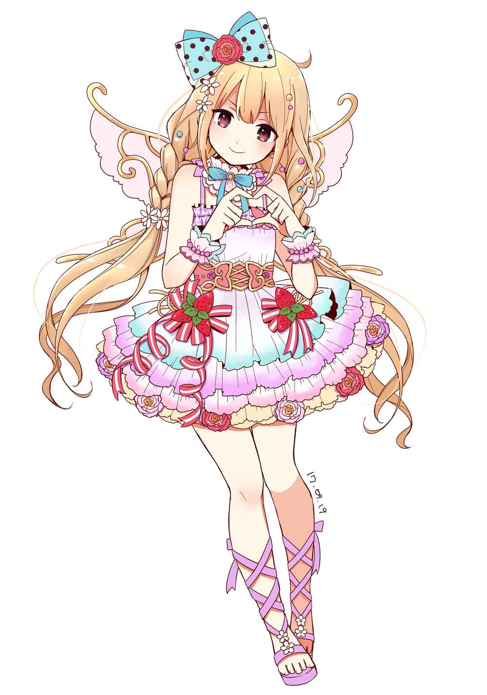 1girl ahoge bare_shoulders blonde_hair blue_bow blush bow bracelet braid brown_eyes commentary_request dated dress fairy_wings fake_wings flower flower_ornament food frilled_dress frills fruit full_body futaba_anzu hair_bow hair_flower hair_ornament heart heart_hands highres idolmaster idolmaster_cinderella_girls idolmaster_cinderella_girls_starlight_stage jewelry layered_dress long_hair looking_at_viewer neck_ribbon pearl_bracelet polka_dot polka_dot_bow ribbon saki_(pixy0911) sandals simple_background smile solo spaghetti_strap standing strawberry striped striped_ribbon transparent_bow twintails v-shaped_eyebrows very_long_hair white_background wings wrist_cuffs