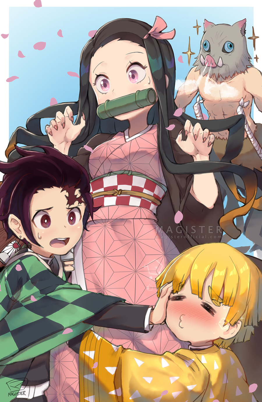 1girl 3boys agatsuma_zenitsu bamboo bit_gag black_hair boar_mask breasts checkered_obi chibi fingernails forehead gag haori hashibira_inosuke highres japanese_clothes kamado_nezuko kamado_tanjirou kimetsu_no_yaiba kimono long_hair magister_(medical_whiskey) male_focus multicolored_hair multiple_boys orange_hair pink_eyes pink_kimono pink_ribbon purple_hair ribbon scar sharp_fingernails small_breasts sweatdrop two-tone_hair violet_eyes watermark