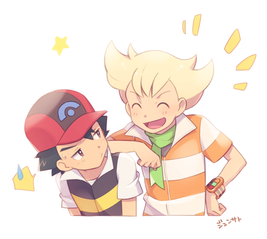 2boys ame_(ame025) ash_ketchum bangs barry_(pokemon) baseball_cap blonde_hair blush brown_eyes closed_eyes closed_mouth commentary_request green_scarf hat jacket male_focus multiple_boys open_mouth pokemon pokemon_(anime) pokemon_dppt_(anime) poketch red_headwear scarf shirt short_hair short_sleeves smile star_(symbol) striped_jacket sweatdrop tongue translation_request watch watch white_shirt  d
