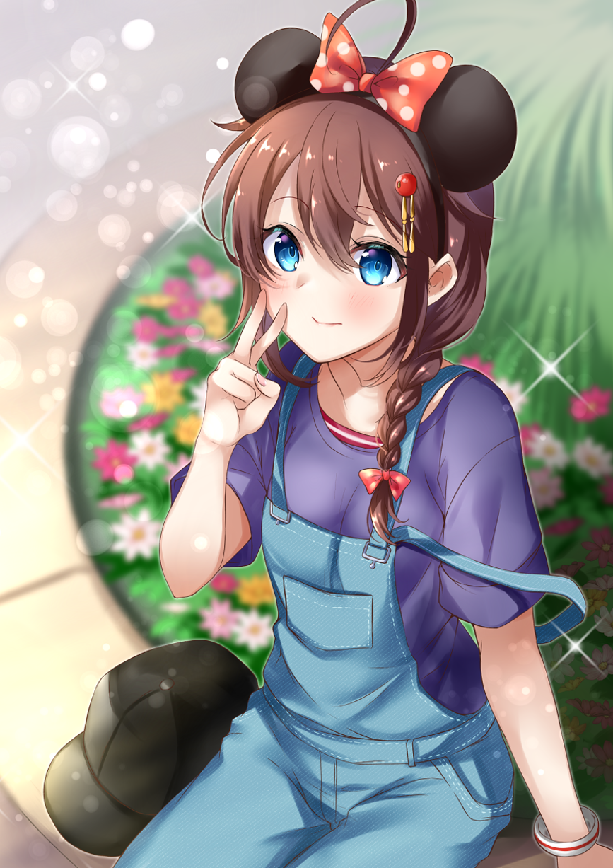 1girl ahoge alternate_costume bangs blue_eyes blush bow bracelet braid breasts brown_hair denim eyebrows_visible_through_hair hair_between_eyes hair_ornament hat hat_removed headwear_removed highres jewelry kantai_collection mashiro_aa mickey_mouse_ears overalls polka_dot polka_dot_bow remodel_(kantai_collection) shigure_(kantai_collection) shirt short_sleeves single_braid sitting smile solo sparkle v