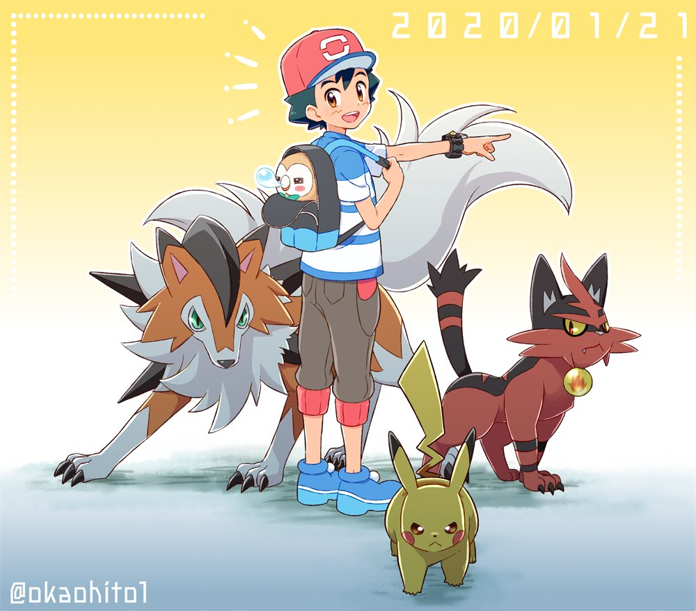 1boy backpack bag baseball_cap black_hair blue_footwear blue_shirt brown_eyes brown_shorts commentary_request dated english_commentary gradient gradient_background group_picture hat looking_at_viewer lycanroc okaohito1 open_mouth orange_background pikachu pointing pointing_forward pokemon pokemon_(anime) pokemon_(creature) pokemon_sm_(anime) rowlet satoshi_(pokemon) shirt shorts spiky_hair striped striped_shirt torracat twitter_username upper_teeth z-ring