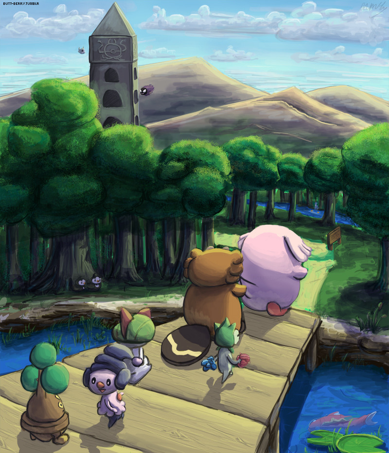 :d bibarel bird black_eyes blue_sky bonsly bridge chansey clouds cloudy_sky commentary day duskull english_commentary fish forest gastly gen_1_pokemon gen_3_pokemon gen_4_pokemon gen_5_pokemon ghost hallowed_tower_(pokemon) magikarp mcgmark mime_jr. mountain nature open_mouth outdoors pokemon ralts road roselia sign sinnoh_route_209 sky smile starly tower tree walking