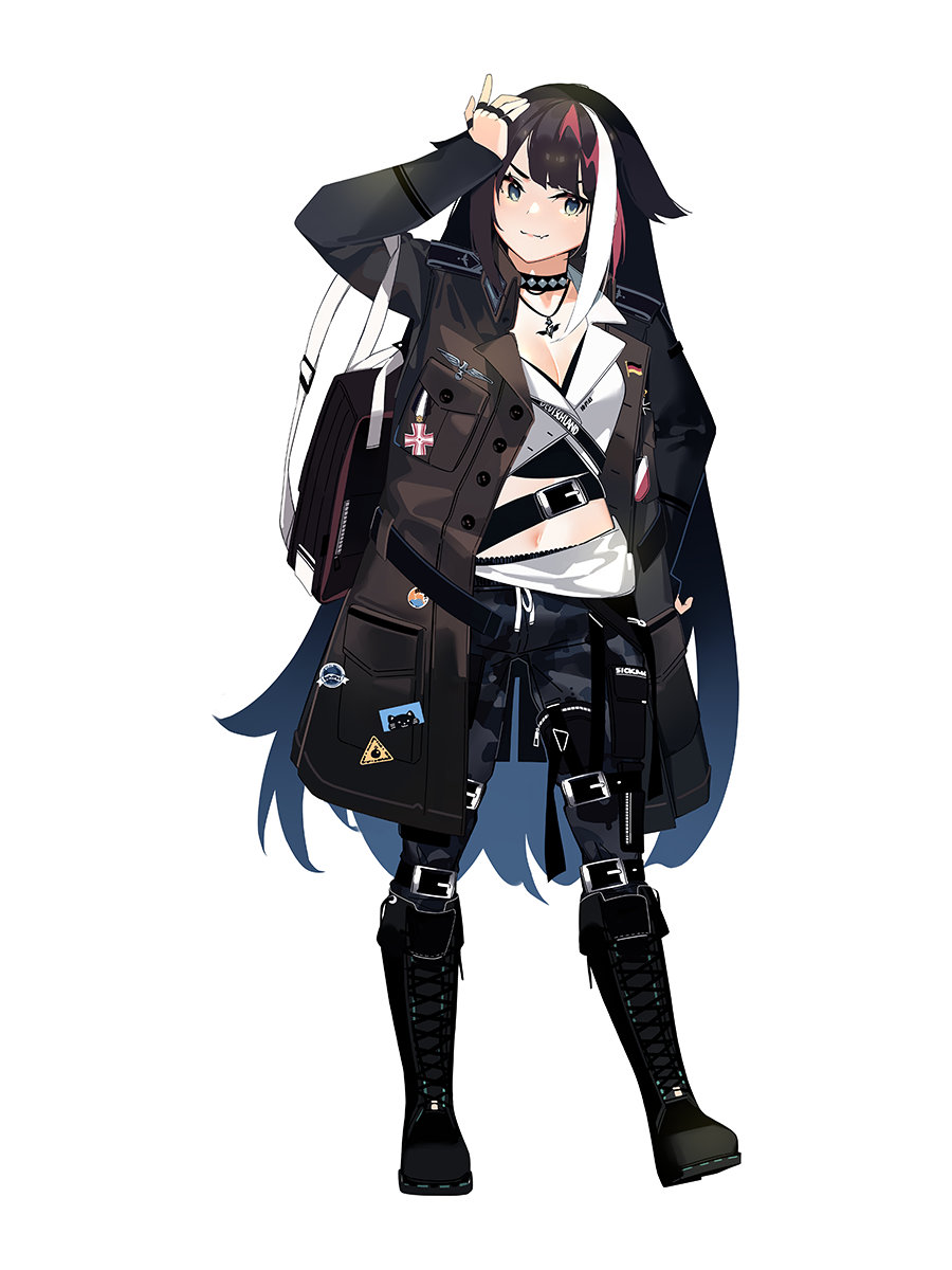 1girl azur_lane bag black_hair blue_eyes boots camouflage camouflage_pants casual choker cross-laced_footwear deutschland_(azur_lane) fang german_flag highres iron_cross jacket knee_boots lace-up_boots long_hair mania_(fd6060_60) medal midriff military_jacket multicolored_hair navel pants redhead solo streaked_hair white_hair