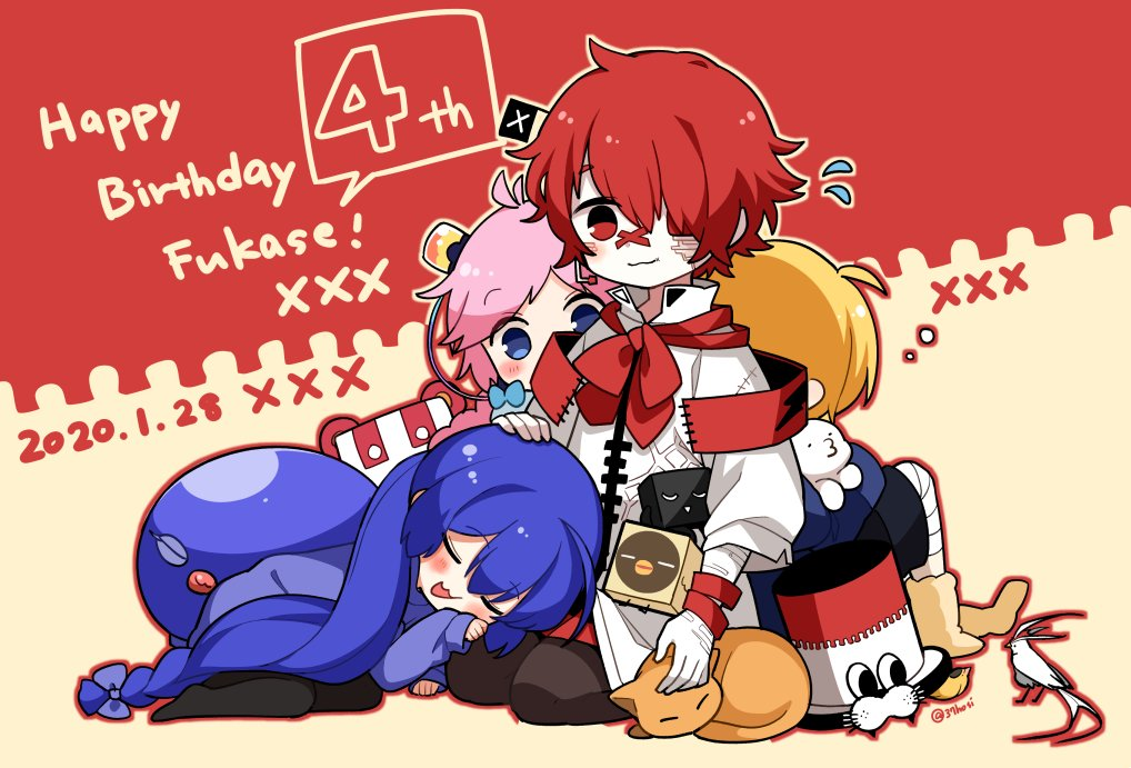 2020 2boys 2girls back-to-back bandaged_leg bandages bandaid bandaid_on_nose bird blue_eyes blue_headwear blush cat chibi closed_eyes coat dated eel_hat flag fukase hair_ornament hand_on_another's_head happy_birthday hat hat_removed headwear_removed james_(vocaloid) lap_pillow mizuhoshi_taichi multiple_boys multiple_girls oliver_(vocaloid) otomachi_una pale_skin petting pink_hair point_(vocaloid) pouty_lips rana_(vocaloid) red_eyes redhead seiza sitting sleeping sweatdrop vocaloid white_coat