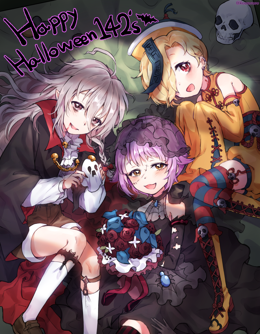3girls ahoge bags_under_eyes bare_shoulders bat blonde_hair blood blood_from_mouth bouquet brown_eyes china_dress chinese_clothes commentary detached_sleeves dress earrings fake_blood fang flower garter_straps halloween happy_halloween hat holding hoshi_shouko idolmaster idolmaster_cinderella_girls idolmaster_cinderella_girls_starlight_stage jewelry jiangshi_costume kawaii_boku_to_142's koshimizu_sachiko lerome looking_at_viewer lying multiple_girls ofuda open_mouth purple_hair red_eyes rose shirasaka_koume silk silver_hair skull sleeves_past_fingers sleeves_past_wrists spider_web stitched_face twitter_username vampire_costume zombie