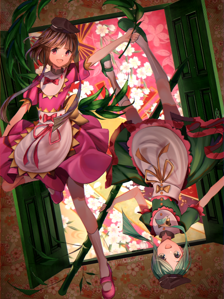 2girls :d abstract_background apron arm_up bamboo brown_hair commentary door dress english_commentary eyebrows floating floating_hair flower green_dress green_footwear green_hair green_shirt hat heikokuru1224 holding leaf looking_at_viewer mary_janes multiple_girls nishida_satono open_door open_eyes open_mouth pink_dress pink_footwear pink_shirt puffy_short_sleeves puffy_sleeves red_ribbon ribbon shirt shoes short_hair short_hair_with_long_locks short_sleeves skirt smile teireida_mai touhou upside-down waist_apron white_apron white_flower white_legwear yellow_ribbon