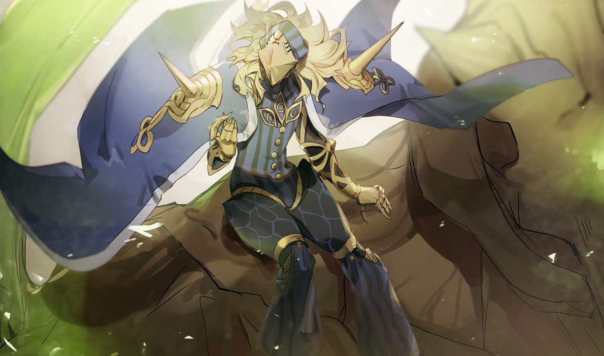 1boy avicebron_(fate) blonde_hair cape claws fate/apocrypha fate_(series) gauntlets giant golem golem_keter_malkuth long_hair male_focus mask no-kan shoulder_spikes sitting_on_shoulder spikes