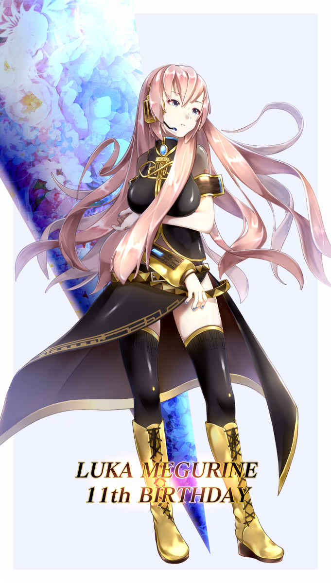 1girl amulet armband arms_under_breasts asymmetrical_sleeves belt black_skirt blue_eyes blue_nails boots breasts character_name commentary expressionless full_body gold_footwear gold_trim grey_shirt happy_birthday headphones headset highres knee_boots kokuri_moki large_breasts long_hair long_skirt looking_to_the_side megurine_luka nail_polish parted_lips pink_hair shirt short_sleeves shoulder_tattoo side_slit single_sleeve skirt tattoo thigh-highs vocaloid