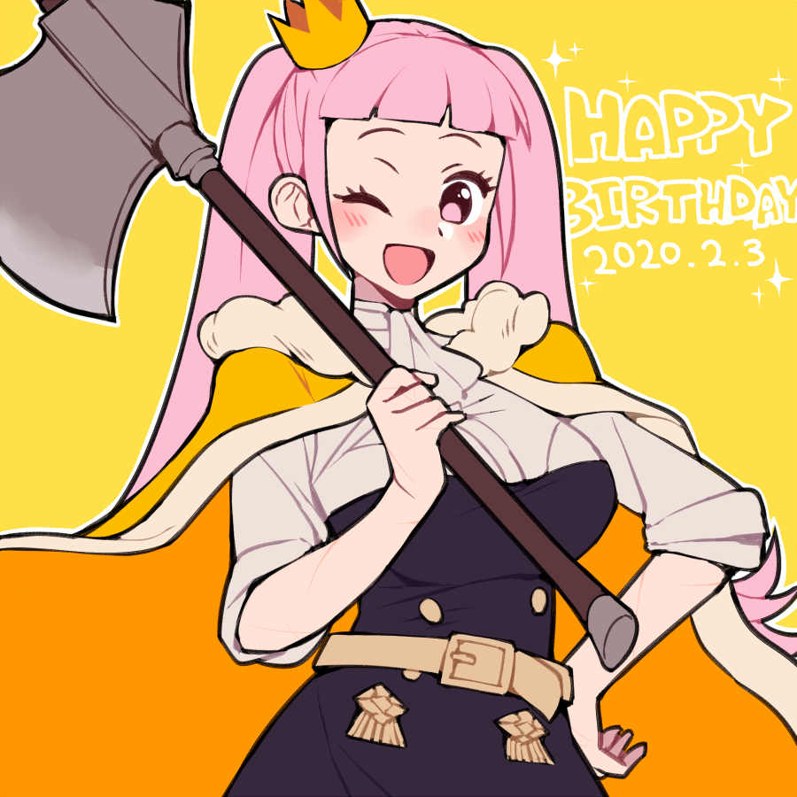 1girl axe belt cape crown dated do_m_kaeru fire_emblem fire_emblem:_three_houses garreg_mach_monastery_uniform happy_birthday hilda_valentine_goneril holding holding_axe long_hair mini_crown one_eye_closed open_mouth pink_eyes pink_hair simple_background solo twintails uniform yellow_background