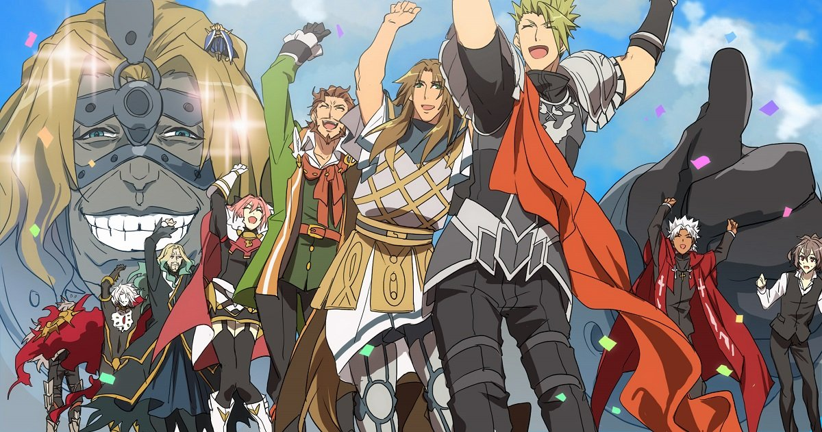 6+boys achilles_(fate) amakusa_shirou_(fate) armor arms_up astolfo_(fate) avicebron_(fate) blonde_hair carnival_phantasm chiron_(fate) dancing fate/apocrypha fate_(series) grey_skin karna_(fate) mask multiple_boys no-kan parody priest queue sieg_(fate/apocrypha) siegfried_(fate) sitting_on_shoulder skirt sky smile spartacus_(fate) stole style_parody thumbs_up vlad_iii_(fate/apocrypha)