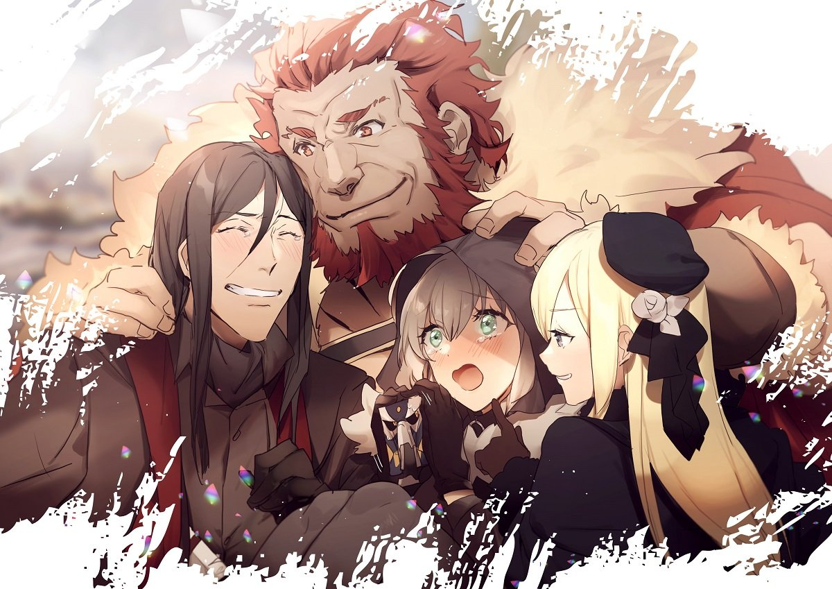2boys 2girls add_(lord_el-melloi_ii) beard black_hair blonde_hair blush cape facial_hair fate_(series) gray_(lord_el-melloi_ii) green_eyes grey_hair hand_on_another's_head hand_on_shoulder laughing long_hair lord_el-melloi_ii lord_el-melloi_ii_case_files multiple_boys multiple_girls no-kan petting redhead reines_el-melloi_archisorte rider_(fate/zero) smile sparkling_eyes tears tilted_headwear waver_velvet