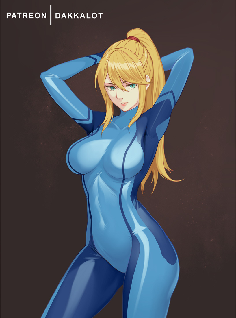 1girl aqua_eyes arms_behind_head arms_up artist_name bangs blue_bodysuit bodysuit breasts brown_background collarbone covered_navel cowboy_shot dakkalot hair_between_eyes large_breasts long_hair looking_at_viewer metroid mole mole_under_mouth parted_lips ponytail samus_aran sidelocks simple_background skin_tight smile solo zero_suit