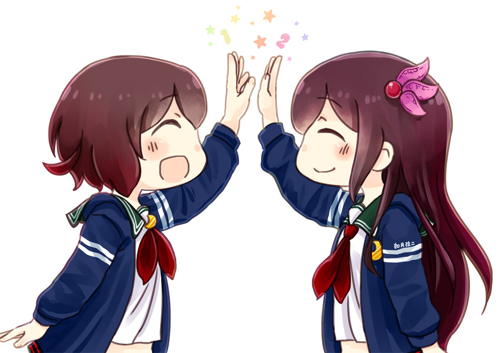 2girls ^_^ bangs blue_jacket brown_hair closed_eyes commentary_request crescent crescent_moon_pin eyebrows_visible_through_hair gradient_hair green_sailor_collar hair_ribbon high_five hinata_yuu jacket kantai_collection kisaragi_(kantai_collection) long_hair long_sleeves midriff multicolored_hair multiple_girls mutsuki_(kantai_collection) neckerchief number open_mouth red_neckwear redhead remodel_(kantai_collection) ribbon sailor_collar school_uniform serafuku short_hair sidelocks simple_background smile star upper_body white_background