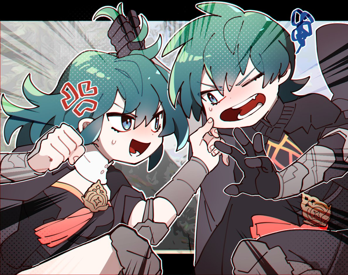 1boy 1girl anger_vein armor black_gloves blue_eyes blue_hair brother_and_sister byleth_(fire_emblem) byleth_eisner_(female) byleth_eisner_(male) byleth_eisner_(female) byleth_eisner_(male) female_my_unit_(fire_emblem:_three_houses) fire_emblem fire_emblem:_three_houses fire_emblem:_three_houses fire_emblem_16 friedbirdchips gloves hair_grab intelligent_systems male_my_unit_(fire_emblem:_three_houses) medium_hair my_unit_(fire_emblem:_three_houses) nintendo one_eye_closed open_mouth short_hair siblings sora_(company) super_smash_bros.