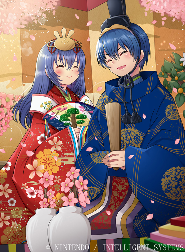 1boy 1girl alternate_costume blue_hair caeda_(fire_emblem) closed_eyes closed_mouth company_name copyright_name fan fire_emblem fire_emblem:_monshou_no_nazo fire_emblem:_mystery_of_the_emblem fire_emblem:_shin_ankoku_ryuu_to_hikari_no_tsurugi fire_emblem_11 fire_emblem_3 fire_emblem_cipher fire_emblem_shadow_dragon flower hair_ornament holding husband_and_wife intelligent_systems japanese_clothes kei_s01 long_hair long_sleeves love marth_(fire_emblem) moe nintendo official_art open_mouth paper_fan petals short_hair smile super_smash_bros. wide_sleeves