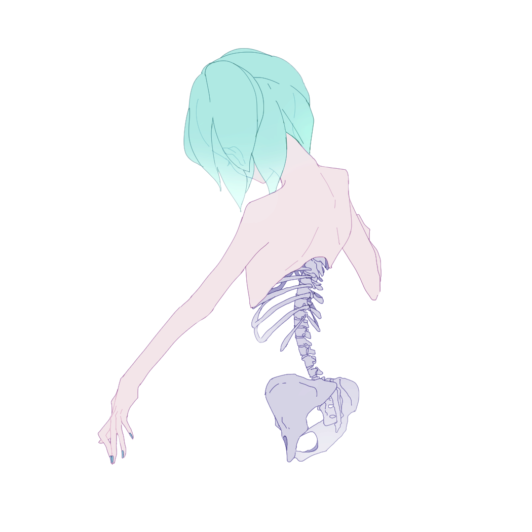 1other bare_shoulders blue_hair blue_nails ears_visible_through_hair from_behind hip_bones houseki_no_kuni kohaku_989 looking_down nail_polish nude phosphophyllite ribs short_hair simple_background skeleton solo spine upper_body white_background