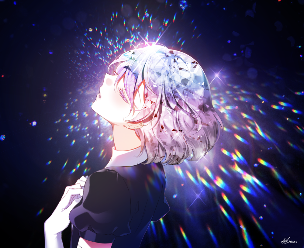 1other androgynous bangs closed_eyes collar collared_shirt commentary_request diamond_(houseki_no_kuni) elbow_gloves elbow_pads from_side gem_uniform_(houseki_no_kuni) gloves hair_between_eyes houseki_no_kuni multicolored multicolored_hair myoya parted_lips puffy_short_sleeves puffy_sleeves rainbow_hair shirt short_hair short_sleeves simple_background solo sparkle upper_body white_gloves