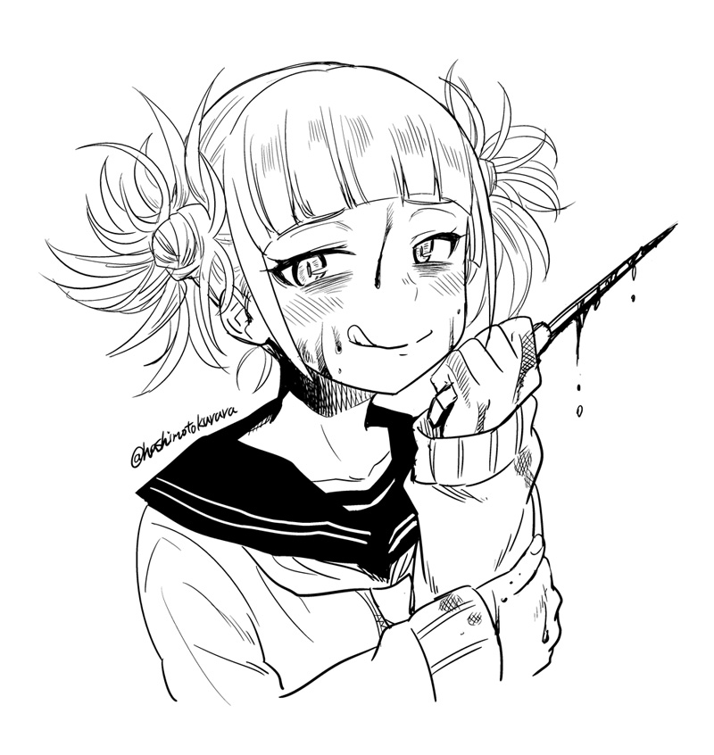 1girl bags_under_eyes bangs blood blood_on_face bloody_clothes bloody_hands bloody_knife blunt_bangs blush boku_no_hero_academia commentary double_bun greyscale hashimoto_kurara holding holding_knife holding_weapon knife licking_lips long_sleeves looking_at_viewer messy_hair monochrome sailor_collar short_hair sidelocks simple_background solo sweater toga_himiko tongue tongue_out twitter_username upper_body weapon white_background