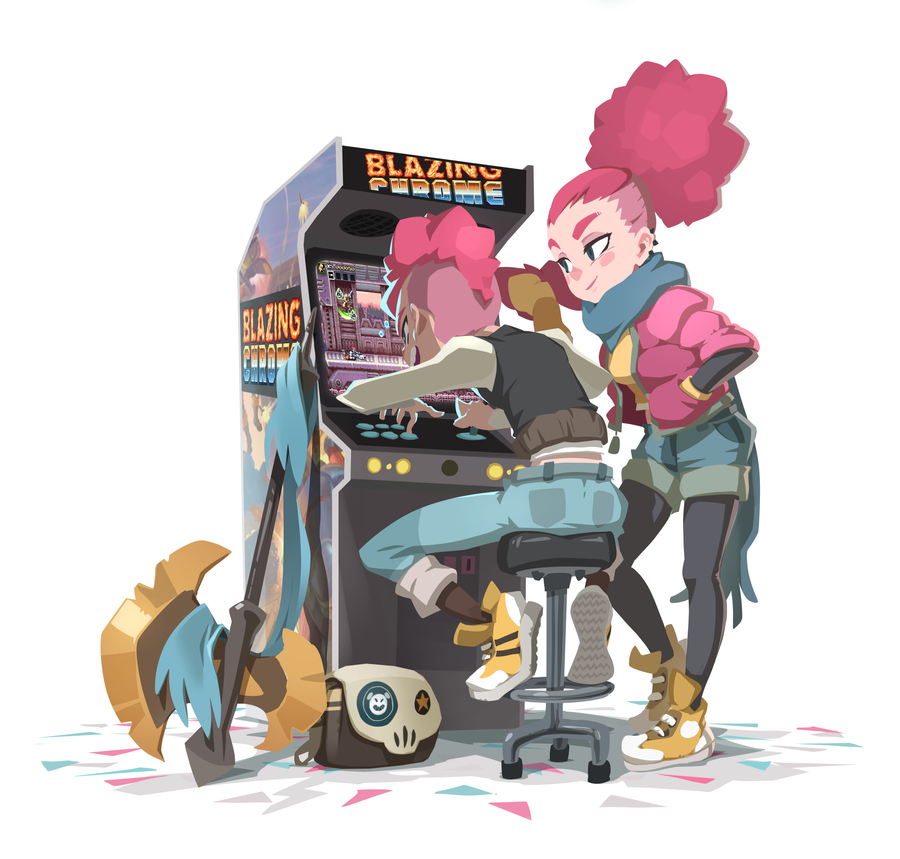 1boy 1girl arcade_cabinet axe battle_axe big_hair blazing_chrome blue_eyes blush_stickers converse full_body mohawk pink_hair planted_weapon playing_games ponytail promotional_art scarf shoes sneakers stool undercut video_game weapon xavier_houssin