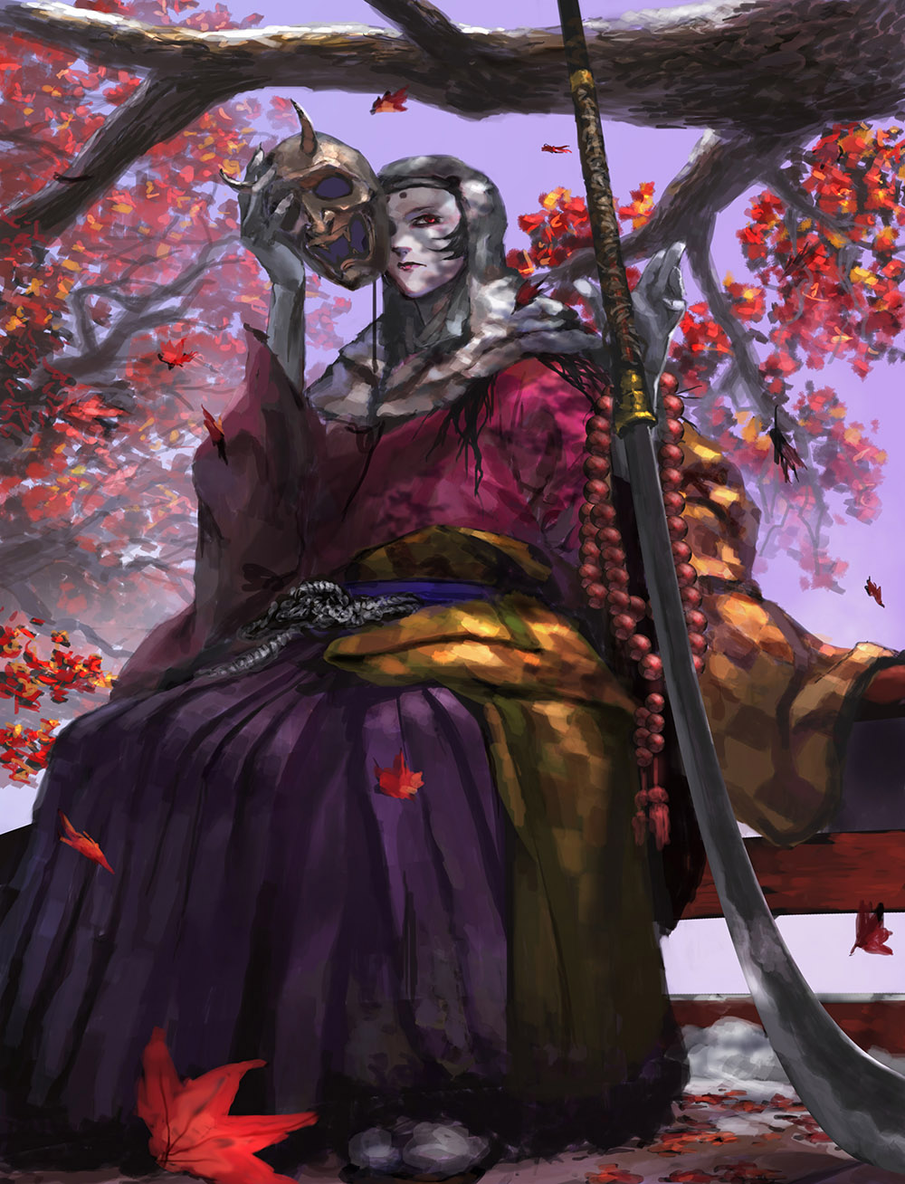 1girl chuno_(akiaji81) closed_mouth corrupted_monk hakama highres holding holding_sword holding_weapon japanese_clothes leaf long_sleeves looking_at_viewer maple_leaf mask oni_mask pale_skin planted_sword planted_weapon purple_hakama red_eyes sekiro:_shadows_die_twice sitting solo sword tabi tree uchigatana weapon wide_sleeves