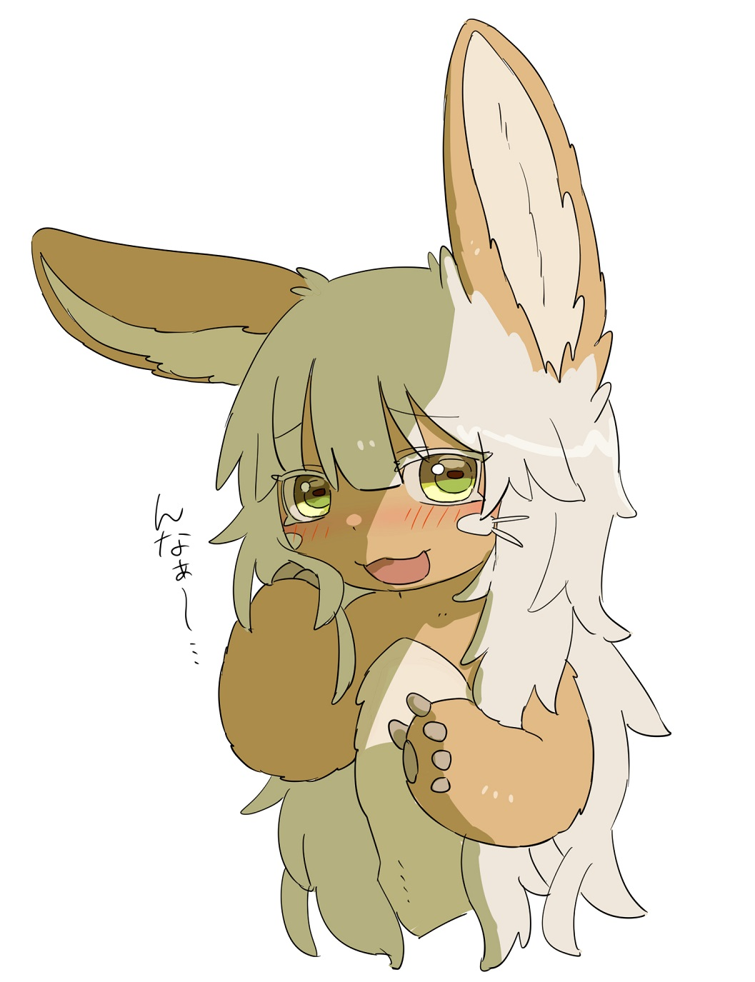 1other alternate_hair_length alternate_hairstyle androgynous animal_ears blush furry highres kawasemi27 long_hair looking_at_viewer made_in_abyss messy_hair nanachi_(made_in_abyss) open_mouth solo translation_request upper_body very_long_hair whiskers white_hair yellow_eyes