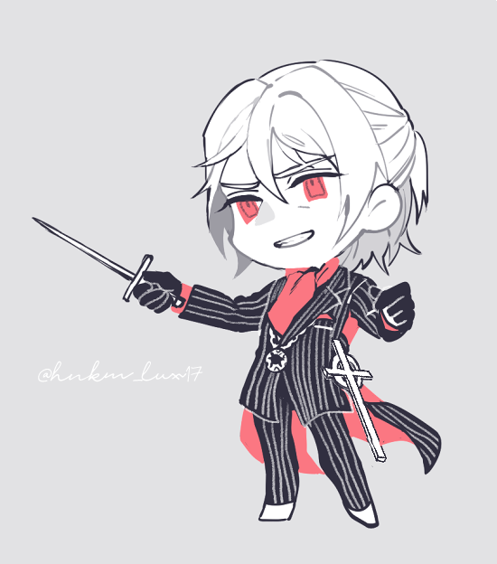1boy antonio_salieri_(fate/grand_order) ascot black_gloves chibi coattails dagger fate/grand_order fate_(series) formal gloves half_updo hinoe_(right-hnxx03) holding holding_weapon jewelry male_focus necklace pinstripe_suit red_eyes sheath solo striped suit weapon white_hair