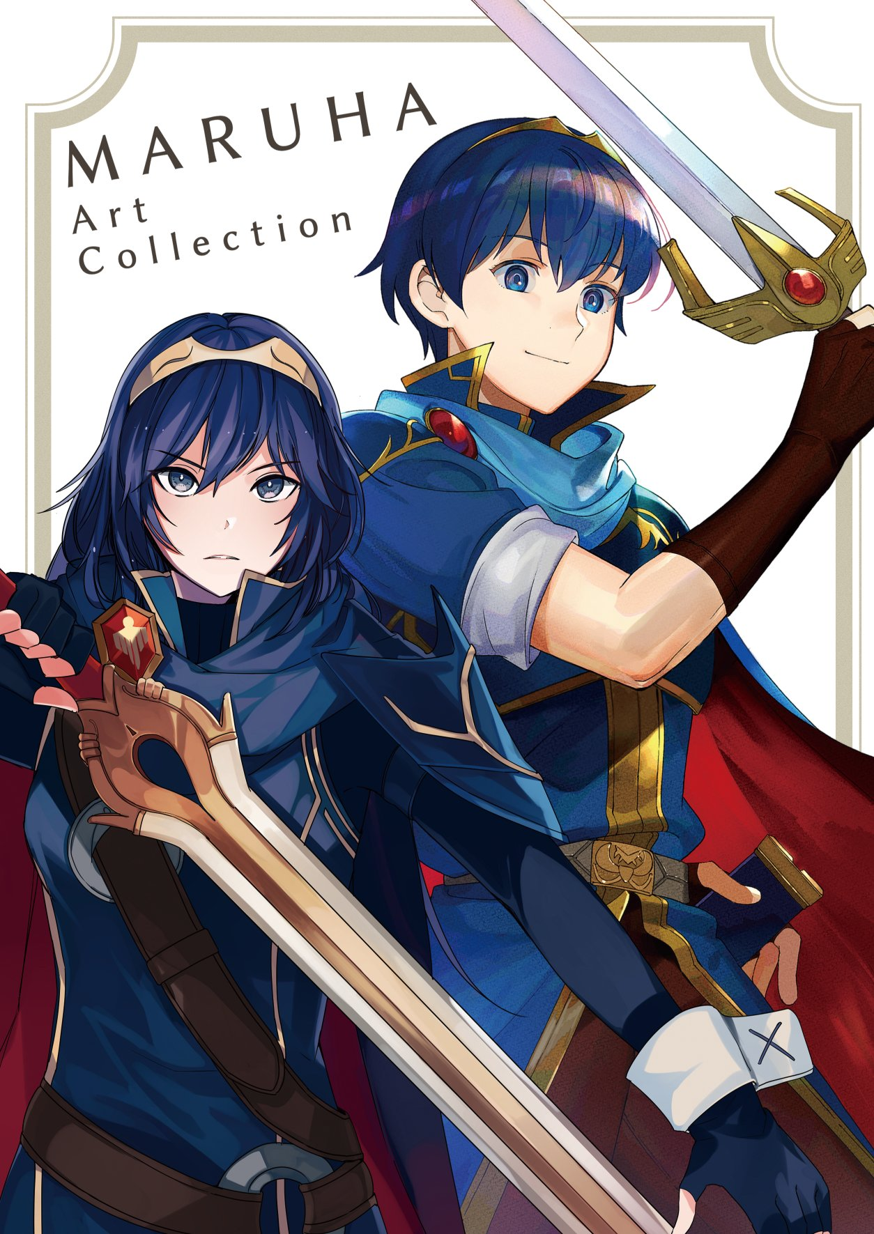 1boy 1girl blue_eyes blue_hair brown_gloves cape closed_mouth falchion_(fire_emblem) fingerless_gloves fire_emblem fire_emblem:_kakusei fire_emblem:_monshou_no_nazo fire_emblem:_mystery_of_the_emblem fire_emblem:_shin_ankoku_ryuu_to_hikari_no_tsurugi fire_emblem_11 fire_emblem_13 fire_emblem_3 fire_emblem_awakening fire_emblem_heroes fire_emblem_shadow_dragon gloves great_grandfather_and_great_granddaughter highres holding holding_sword holding_weapon intelligent_systems kazuha_(kazuha1003) kyufe long_hair lucina lucina_(fire_emblem) marth marth_(fire_emblem) nintendo short_hair short_sleeves super_smash_bros. sword tiara upper_body weapon