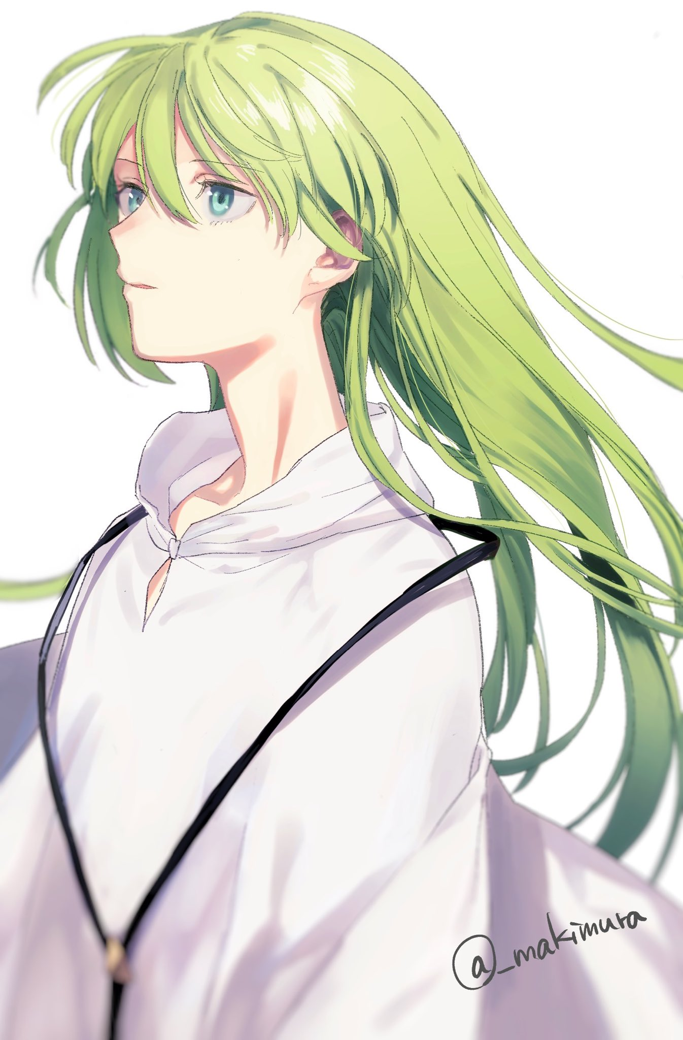 1boy androgynous aqua_eyes blurry depth_of_field enkidu_(fate/strange_fake) eyelashes fate/strange_fake fate_(series) green_eyes green_hair highres makimura_(miwmiw-cage) male_focus solo twitter_username upper_body wide_sleeves