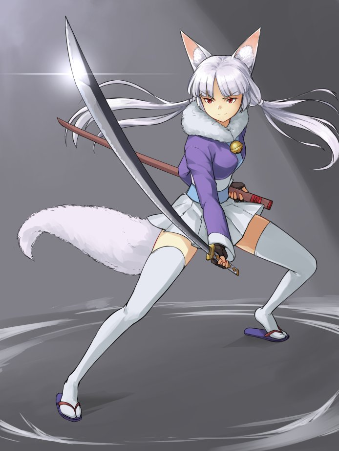 1girl animal_ear_fluff animal_ears bangs bell brown_gloves closed_mouth commentary english_commentary eyebrows_visible_through_hair fighting_stance fingerless_gloves floating_hair fox_ears fox_girl fox_tail full_body fur_trim glint gloves grey_background grey_hair holding holding_sheath holding_sword holding_weapon jingle_bell katana legs_apart long_sleeves low_twintails maritan_(pixelmaritan) obi original parted_bangs perspective pleated_skirt purple_footwear red_eyes sandals sash sheath skirt smile solo sword tail thigh-highs tiptoes twintails unsheathed v-shaped_eyebrows weapon white_legwear white_skirt