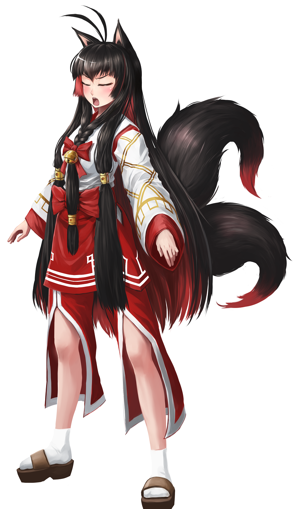 1girl animal_ears antenna_hair arms_at_sides bell blush bow braid brown_hair clog_sandals closed_eyes commentary_request fox_ears fox_girl fox_tail full_body hair_bell hair_bow hair_ornament highres japanese_clothes jingle_bell kimono legs_apart long_hair long_sleeves maritan_(pixelmaritan) multicolored_hair multiple_tails open_mouth original red_bow redhead sandals simple_background socks solo tail two-tone_hair two_tails very_long_hair white_background white_legwear wide_sleeves
