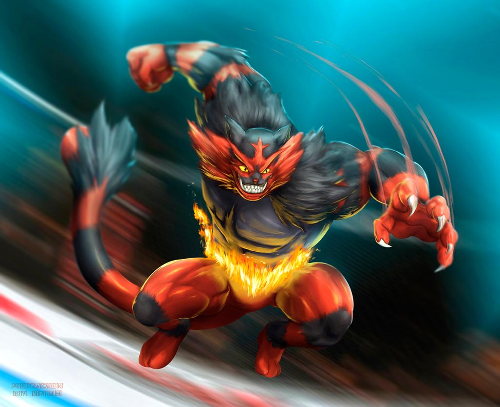 claws commentary creature english_commentary fangs fire full_body gen_7_pokemon grin incineroar jumping muscle namh no_humans pokemon pokemon_(creature) sharp_teeth smile solo teeth yellow_eyes