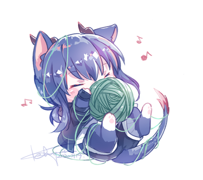 1girl animal_ears arknights bangs black_shorts blush cat_ears chibi closed_eyes dragon_tail eyebrows_visible_through_hair fingerless_gloves gloves horns keluy lying musical_note on_back shorts signature solo tail white_background yarn yarn_ball