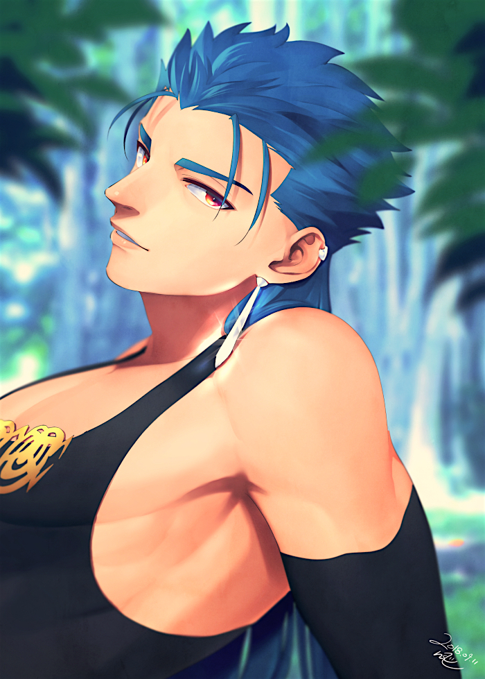 1boy bare_shoulders blue_hair bodysuit cape_removed cu_chulainn_(fate)_(all) cu_chulainn_(fate/grand_order) earrings fate/grand_order fate_(series) jewelry long_hair looking_at_viewer male_focus nishiyama_(whatsoy) red_eyes shirt smile solo tight_shirt