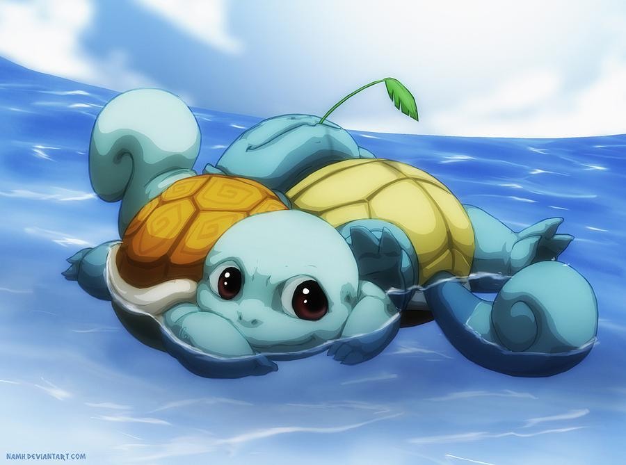 afloat blue_sky brown_eyes clouds cloudy_sky commentary commission creature day deviantart_username english_commentary full_body gen_1_pokemon happy mouth_hold namh no_humans outdoors pokemon pokemon_(creature) shell sky squirtle water watermark web_address