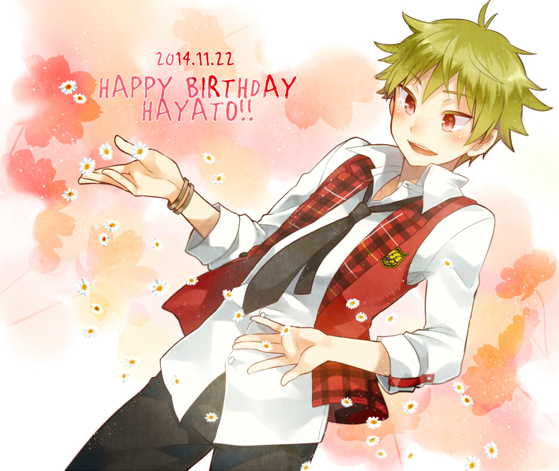 1boy akiyama_hayato badge black_neckwear black_pants bracelet commentary_request dated english_text floral_background flower green_hair happy_birthday idolmaster idolmaster_side-m irouha jacket jewelry loose_necktie necktie open_mouth pants red_eyes red_jacket shirt white_shirt