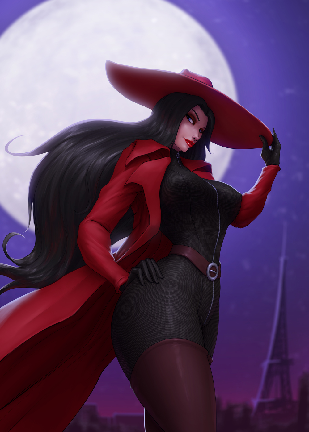 1girl barretxiii belt black_bodysuit black_gloves black_hair blue_eyes bodysuit boots breasts brown_footwear carmen_sandiego carmen_sandiego_(series) coat covered_nipples eyeshadow fedora full-length_zipper full_moon gloves hand_on_hip hat hat_tug highres large_breasts leather leather_boots lips lipstick long_coat long_hair makeup moon night open_clothes open_coat red_coat skin_tight sleeveless solo thick_thighs thigh-highs thigh_boots thighs turtleneck very_long_hair zipper zipper_pull_tab