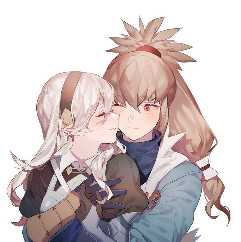 1boy 1girl bangs black_gloves blue_jacket brown_gloves brown_hair brown_hairband bush closed_eyes closed_mouth collar collared_shirt corrin_(fire_emblem) corrin_(fire_emblem)_(female) eyebrows_visible_through_hair fire_emblem fire_emblem_fates gloves hair_between_eyes hair_ornament hairband holding hug jacket long_hair long_sleeves looking_at_another one_eye_closed parted_lips pointy_ears ponytail puffy_long_sleeves puffy_sleeves red_eyes red_ribbon ribbon shirt simple_background smile takumi_(fire_emblem) upper_body white_background white_hair white_shirt zuizi