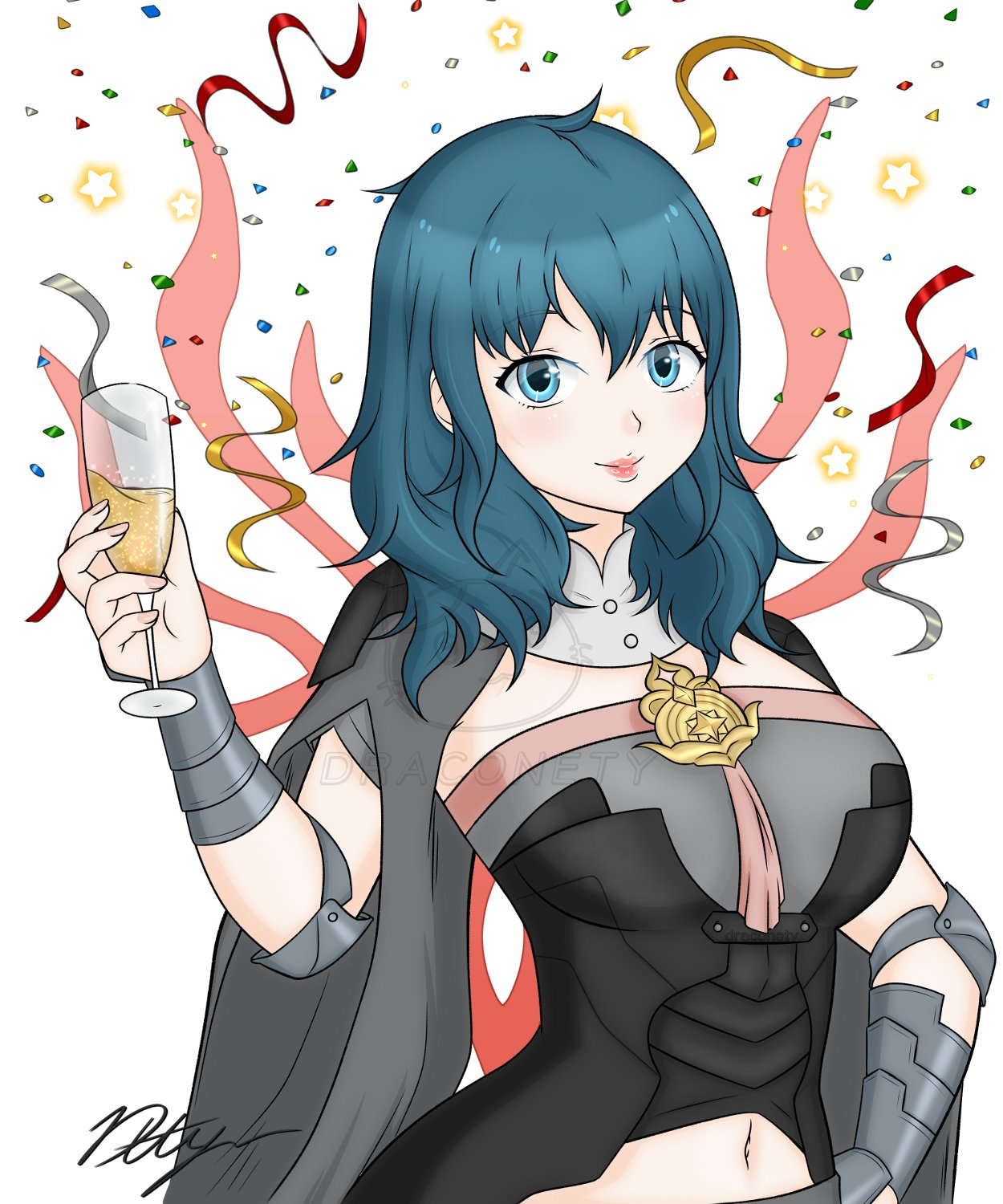 1girl alcohol armor bangs blue_eyes blue_hair breasts byleth_(fire_emblem) byleth_eisner_(female) celebration champagne champagne_flute confetti cup cute draconety drinking_glass female_my_unit_(fire_emblem:_fuukasetsugetsu) fire_emblem fire_emblem:_fuukasetsugetsu fire_emblem:_three_houses fire_emblem_16 hair_between_eyes highres intelligent_systems large_breasts lips looking_at_viewer medium_hair my_unit_(fire_emblem:_fuukasetsugetsu) navel navel_cutout nintendo parted_lips signature simple_background smile solo super_smash_bros. vambraces watermark