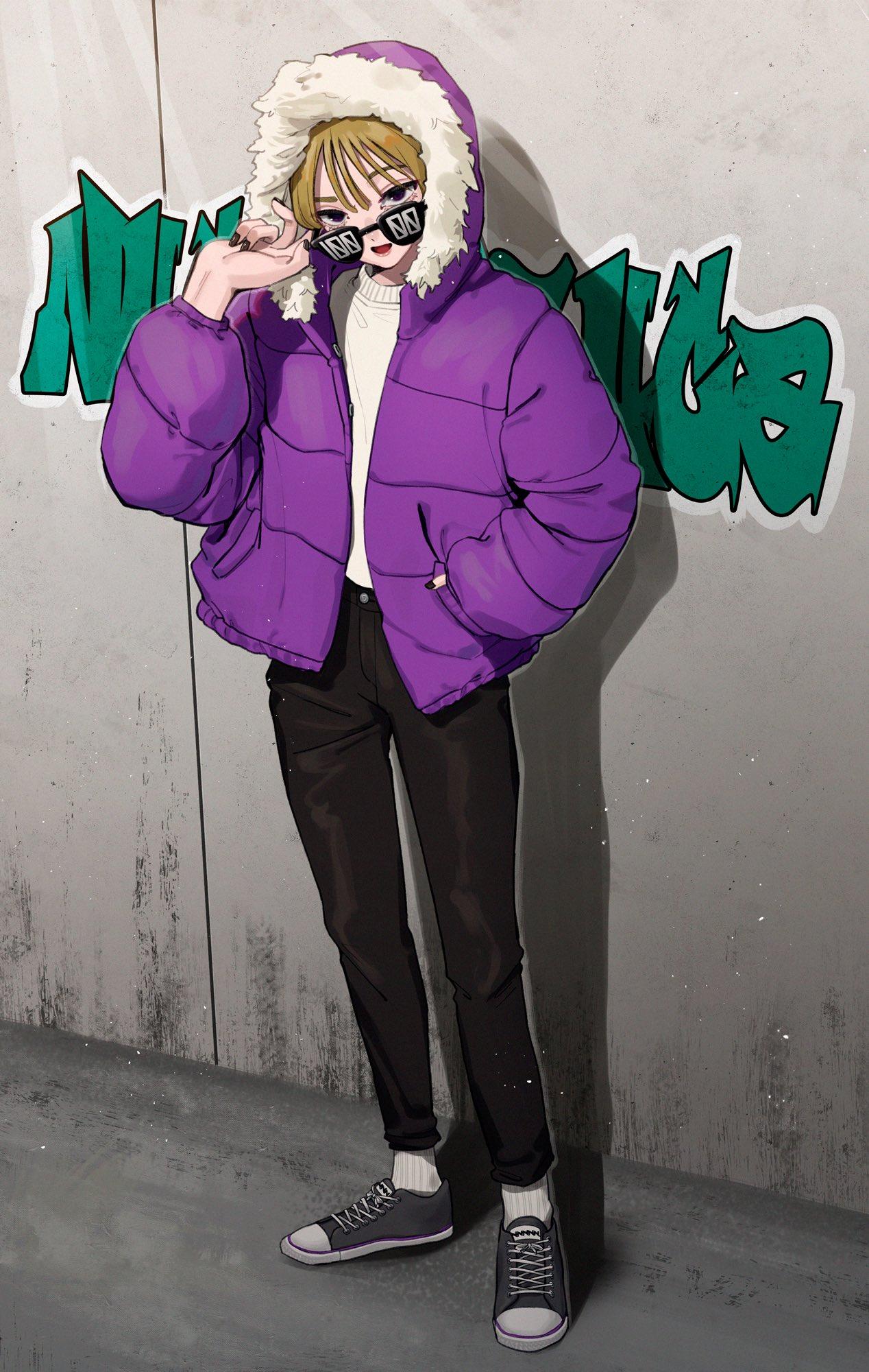 1girl adjusting_eyewear bangs black_eyes black_nails black_pants blonde_hair daikon_(tomohiro158) full_body fur_trim graffiti hand_in_pocket hand_up highres hood hood_up hooded_jacket jacket long_sleeves looking_at_viewer nail_polish open_mouth original pants puffy_long_sleeves puffy_sleeves purple_coat shadow shirt shirt_tucked_in shoes socks solo standing sunglasses white_legwear white_shirt