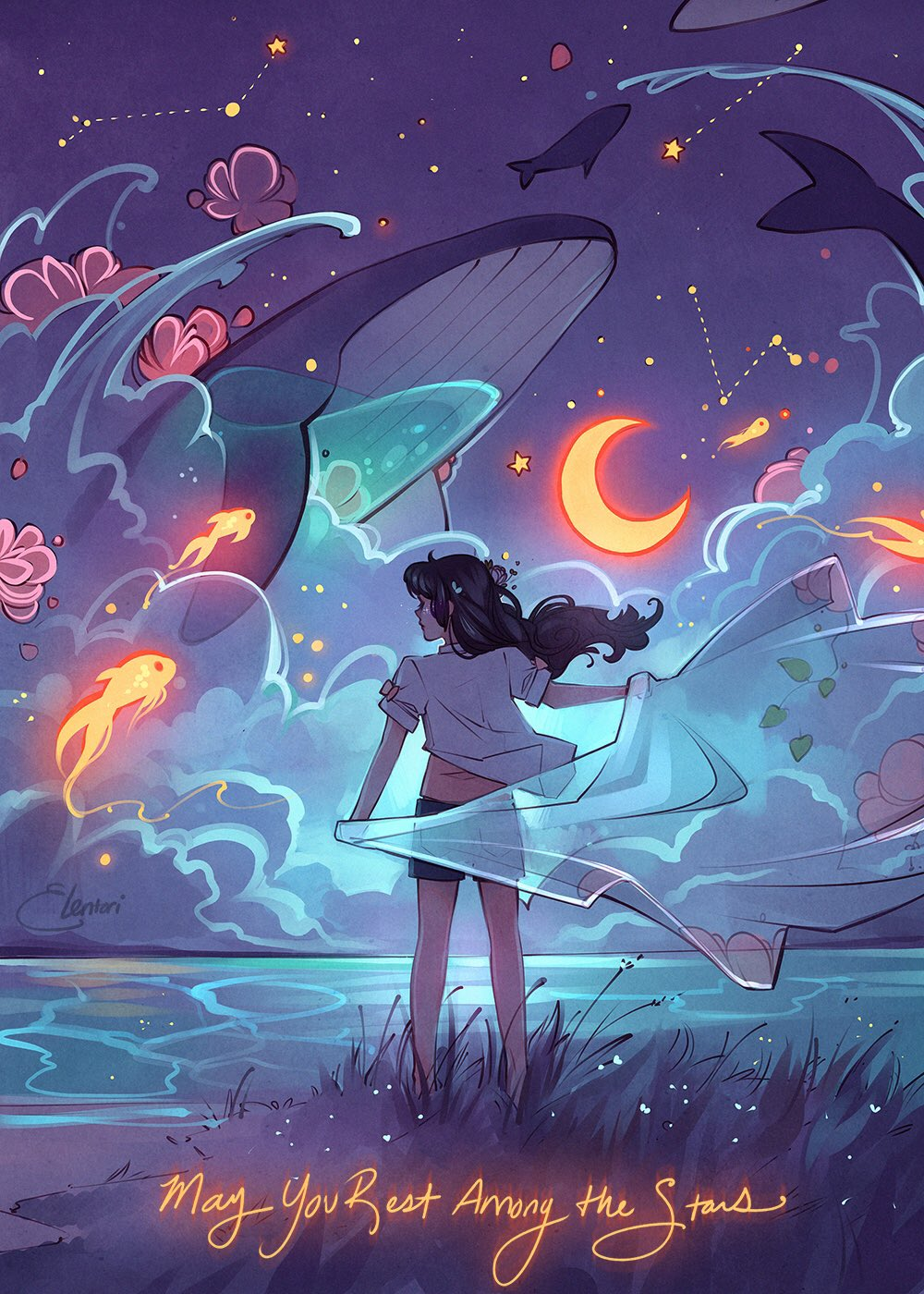 1girl artist_name barefoot black_hair black_shorts clouds constellation crescent_moon elentori english_commentary english_text fish floating_hair flower flying_whale from_behind glowing grass hair_flower hair_ornament highres holding horizon long_hair moon night night_sky ocean original outdoors petals qinni_(artist) shirt short_shorts short_sleeves shorts signature sky solo standing water whale white_shirt wind