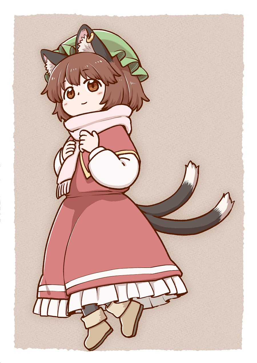 1girl animal_ear_fluff animal_ears bangs black_legwear blush boots border brown_background brown_eyes brown_footwear brown_hair cat_ears cat_tail chen commentary_request dress earrings eyebrows_visible_through_hair full_body green_headwear hat highres jewelry long_sleeves looking_at_viewer mob_cap multiple_tails nekomata petticoat pink_scarf poronegi puffy_sleeves red_dress scarf shirt short_hair simple_background smile solo tail touhou two_tails white_border white_shirt