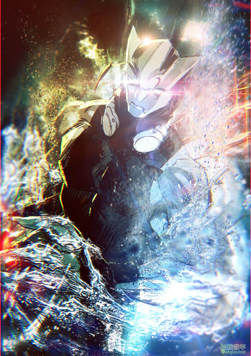 1boy blue_skin fish_boy glowing glowing_eyes goggles goggles_around_neck highres katou_teppei kekkai_sensen male_focus monster_boy no_pupils shirt solo tank_top tight_shirt water zed_o'_brien