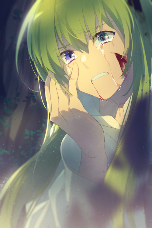 1girl 1other androgynous aqua_eyes blood blood_from_mouth blood_on_face cis05 commentary_request crying crying_with_eyes_open enkidu_(fate/strange_fake) eye_reflection eyebrows_visible_through_hair fate/grand_order fate_(series) green_hair hair_between_eyes hand_on_own_face heterochromia kingu_(fate) long_hair open_mouth reflection siduri_(fate/grand_order) tears teeth very_long_hair violet_eyes white_robe