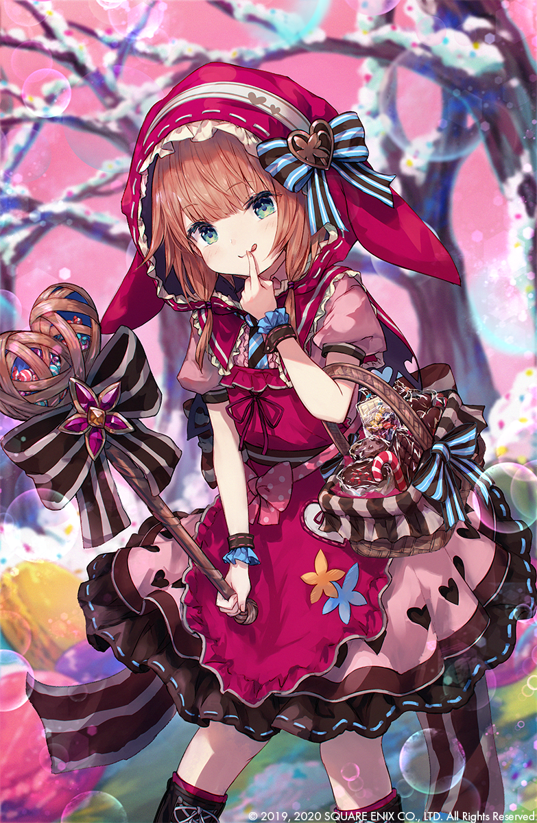 1girl :q animal_hood basket bow brown_hair candy candy_cane commentary_request dress finger_to_mouth food green_eyes grimms_echoes heart heart_hat_ornament heart_print highres hood icing little_red_riding_hood_(grimms_echoes) pink_dress roll_okashi scrunchie solo tongue tongue_out tree valentine wand wrist_scrunchie