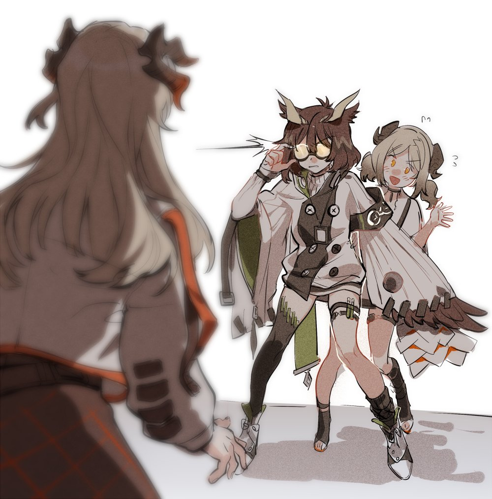 3girls :d arknights asymmetrical_legwear black_legwear brown_hair flying_sweatdrops glasses horns ifrit_(arknights) jacket multiple_girls open_mouth saria_(arknights) silence_(arknights) smile test_tube thigh_strap toeless_legwear towtow_redoland turtleneck twintails yellow_eyes