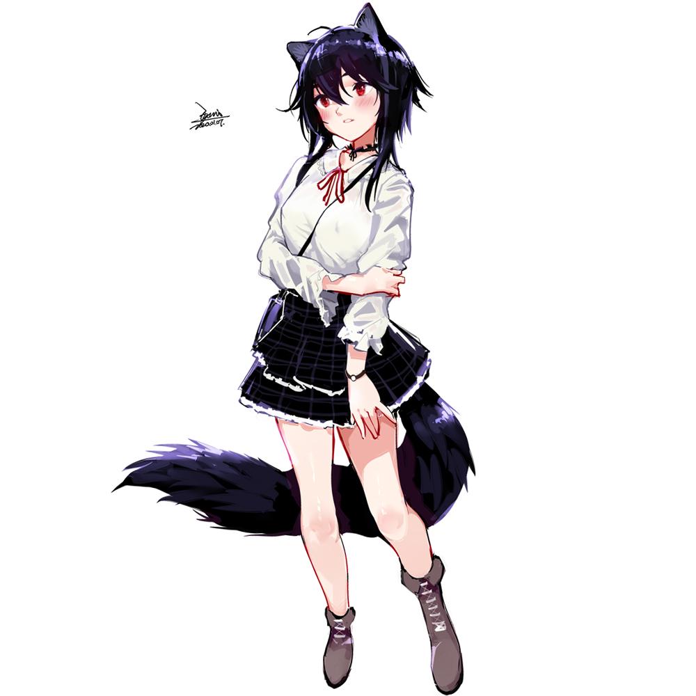 1girl animal_ears bare_legs black_hair black_skirt boots commentary_request ejami ekko_(ejami) fox_ears fox_girl fox_tail full_body original red_eyes shirt short_hair_with_long_locks skirt tail white_shirt