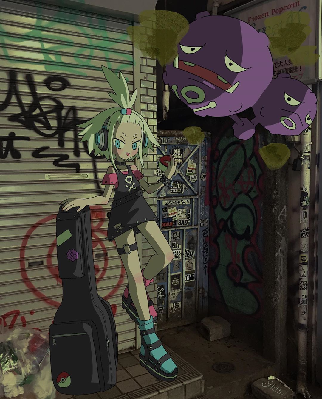 1girl alley alternate_costume bad_proportions bangs_pinned_back black_dress blue_eyes blush boots collar dress forehead full_body gen_1_pokemon graffiti guitar_case hair_bobbles hair_ornament headphones highres homika_(pokemon) instrument_case koffing leaning_back long_legs looking_at_viewer mismatched_footwear mixed_media mkrn_grtn off-shoulder_shirt off_shoulder overhead_door photo_background pinafore_dress pink_shirt platinum_blonde_hair poke_ball pokemon pokemon_(game) pokemon_bw2 poster_(object) shirt short_dress short_hair standing standing_on_one_leg sticker studded_bracelet thigh_strap tongue tongue_out torn_clothes trash_bag tsurime weezing white_hair