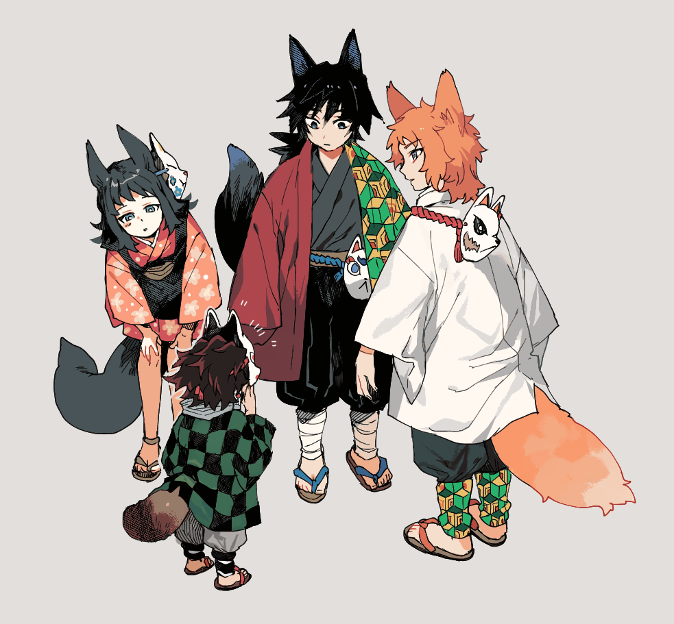 1girl 3boys animal_ears bangs black_hair blue_eyes checkered child earrings flipped_hair floral_print fox_boy fox_ears fox_girl fox_mask fox_tail geta grey_background grey_eyes hand_on_mask haori japanese_clothes jewelry kamado_tanjirou kemonomimi_mode kimetsu_no_yaiba kimono leaning_forward leg_wrap looking_at_another makomo_(kimetsu) mask mask_on_head mask_removed multiple_boys newo_(shinra-p) odd_one_out orange_hair orange_kimono pants profile raccoon_tail redhead sabito_(kimetsu) sash short_kimono simple_background standing surprised tail tomioka_giyuu