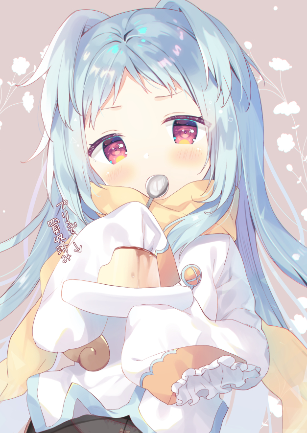 1girl bangs black_legwear blue_hair blush bow bow_panties brown_background brown_scarf covered_mouth directional_arrow food holding holding_spoon izumo_miyako long_hair long_sleeves looking_at_viewer panties panties_under_pantyhose pantyhose parted_bangs princess_connect! princess_connect!_re:dive pudding red_eyes scarf shirt sleeves_past_fingers sleeves_past_wrists solo spoon translation_request two_side_up underwear upper_body very_long_hair white_shirt yuizaki_kazuya