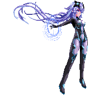 1girl bodysuit cundodeviant english_commentary headgear long_hair lowres neptune_(series) next_purple outstretched_arm pixel_art purple_bodysuit purple_hair shiny shiny_hair solo transparent_background very_long_hair